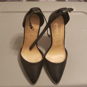Black ankle strap pumps